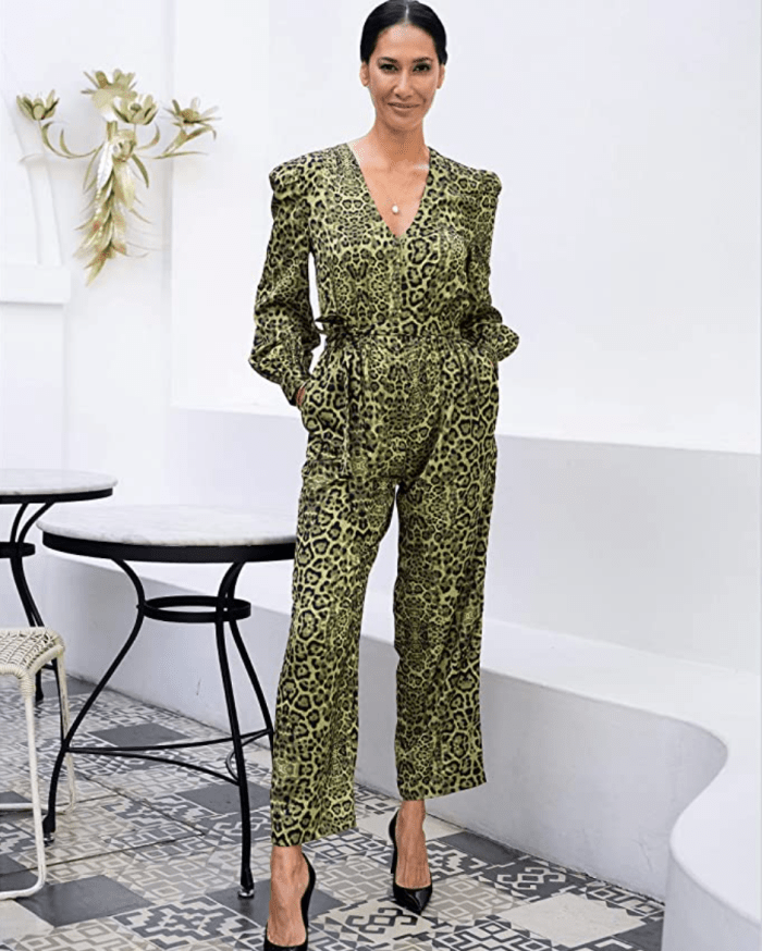 The Drop Women's Green Animal Print V-neck Jumpsuit