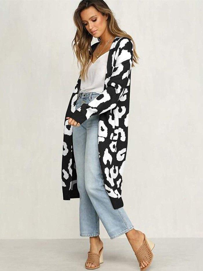 Anna-Kaci Leopard Print Knitted Sweater Cardigan
