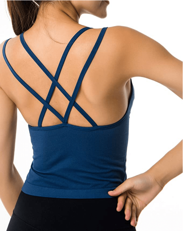 AKAMC Women's Medium Support Cross Back Wirefree Removable Cups Yoga Sport Bra