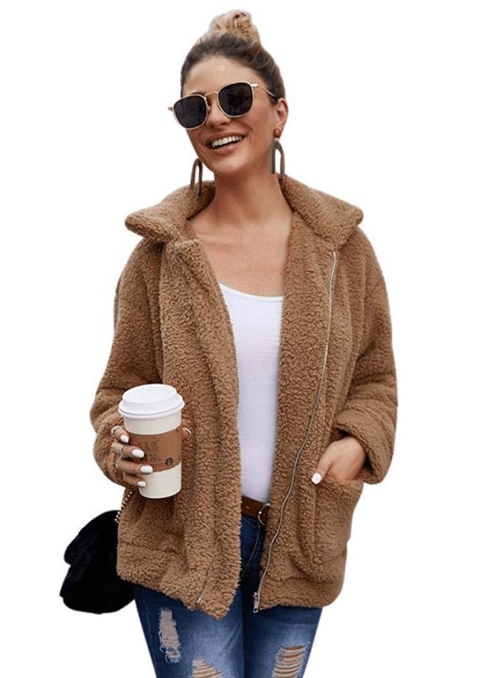 Tmore Women Faux Fur Shearling Shaggy Coat