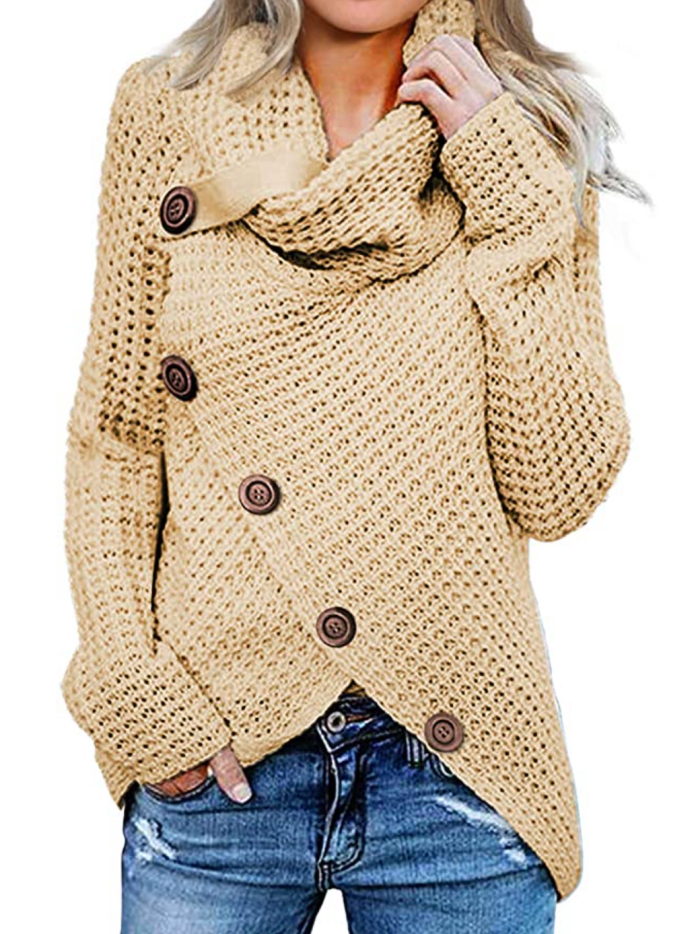 Asvivid Women's Button Turtle Cowl Neck Asymmetric Hem Wrap Pullover Sweater