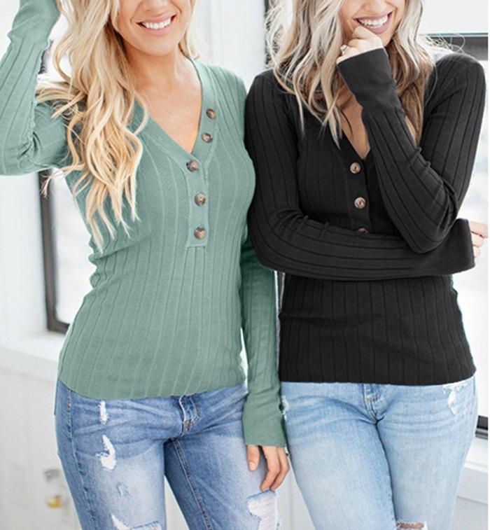 Spadehill V-Neck Button-Up Long-Sleeve Knit Sweater