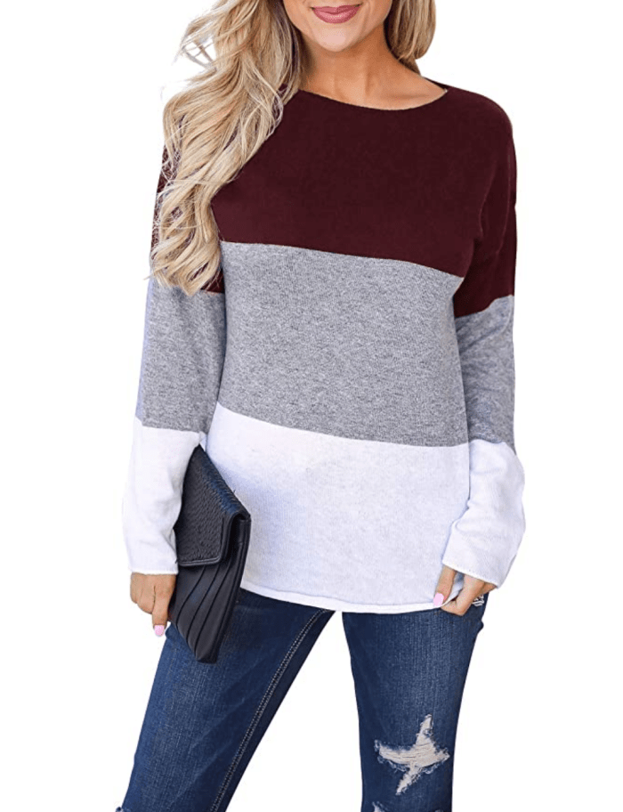 Blooming Jelly Women's Long Sleeve Round Neck Color Block Stripe Top