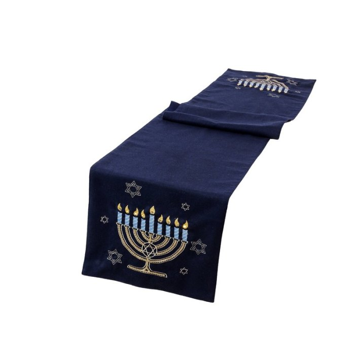 The Holiday Aisle Swanscombe Hanukkah Velvet Touch Light Up Table Runner