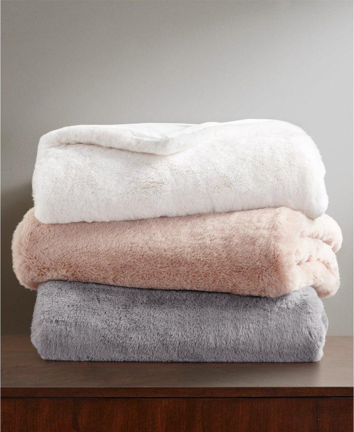 Martha Stewart Collection Faux Fur Throw