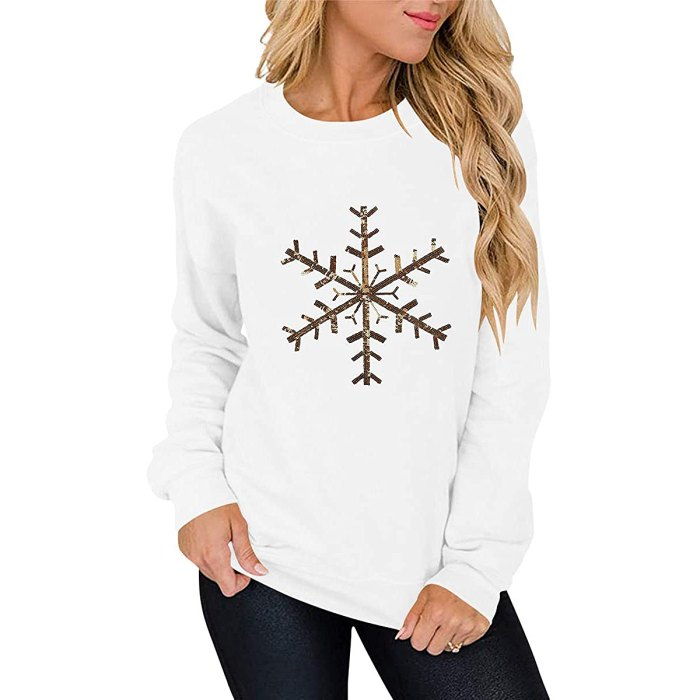 ANRABESS Holiday Crew Neck Sweatshirt With Sequins