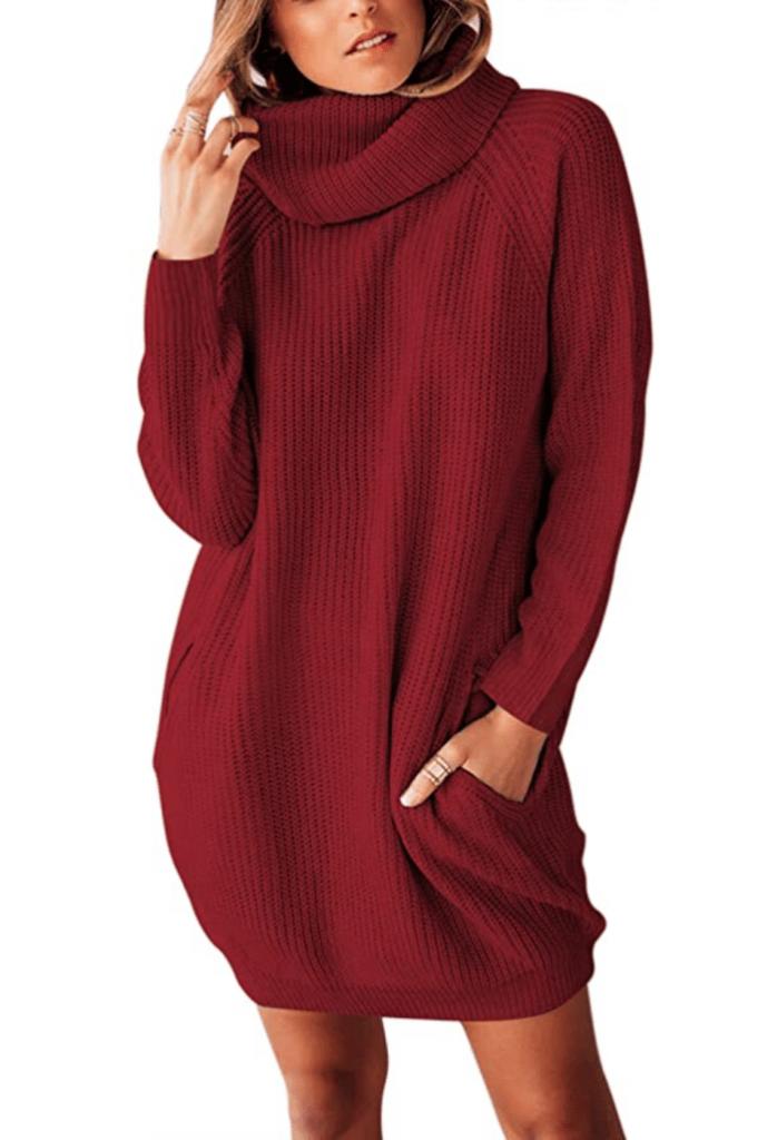 Sovoyontee Women's Long Sleeve Baggy Oversized Turtleneck Pullover Sweater Dress