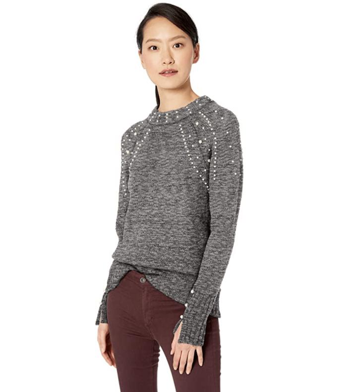 kensie Women's Pearl Embellished Sweater