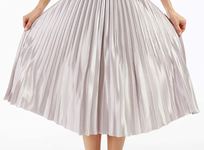 CHARTOU Accordion Pleated Metallic Long Party Skirt