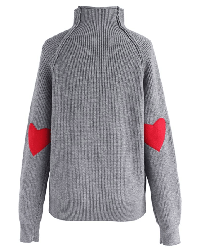Chicwish Women's Comfy Casual Long Sleeve Heart Shape Patched Pullover Sweater