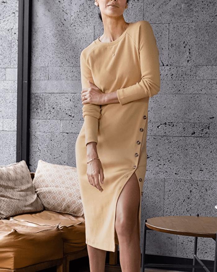 The Drop Women's Tan Raglan-Sleeve Midi Dress