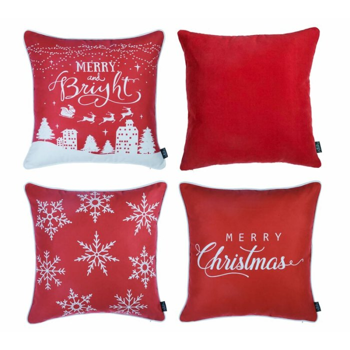 The Holiday Aisle Lomonaco Merry Christmas Square Pillow Cover Set of 4
